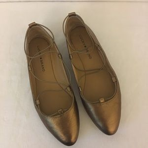 Lucky Brand Leather Bronze Ballerina Flats